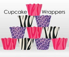 Cupcake Wrappers  Shake It Up zebra cheetah  Collection by orange1