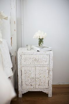 Bone inlay nightstand. #decorinspiration