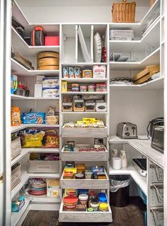 Contemporary pantry shelving Walk In Pantry Shelving Systems for Large Pantry Room Small Pantry Organization, Kitchen Pantry Storage, Pantry Laundry Room, Kitchen Pantry Design, Pantry Shelving, Pantry Closet, Walk In Pantry, Organization Ideas, Storage Ideas