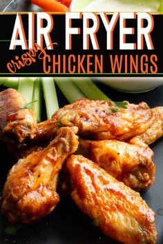 You wont believe they aren't deep fried. You wont believe they aren't deep fried. Air Fry Chicken Wings, Crispy Chicken Wings, Chicken Breasts, Chicken Drumsticks, Chicken Nuggets, Air Frier Recipes, Air Fryer Oven Recipes, Air Fryer Wings, Keto Vegan