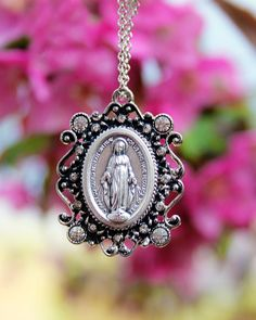 Miraculous Medal necklace, Miraculous Medal, Virgin Mary, Rhinestone Miraculous Medal necklace, Catholic Jewelry by BlessedBeansBoutique on Etsy