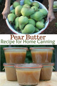 canning recipes - Pear Butter Recipe Canning 101 Canning Apples, Canning 101, Home Canning, Canning Recipes, Pressure Canning, Vitamix Recipes, Apple Syrup Recipe Canning, Apple Butter Canning, Sweets