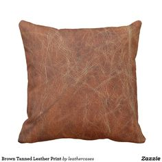 Brown Tanned Leather Print Throw Pillow