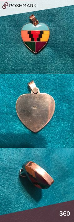 """PENDANT Beautiful thick Indian patterned block pendant heart shaped excellent condition. Few scratches on back stamped 925 Sterling Silver 2""""x2"""" Jewelry Necklaces"""