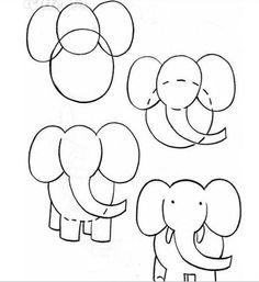 Instrução para desenho infantil - Elefante!