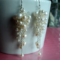 Fancy pearl chandelier earrings