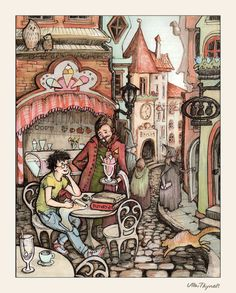 Diagon Alley by =ullakko on deviantART Harry Potter Places, Harry Potter Fan Art, Harry Potter World, Poetry Art, Bird Book, Travel Music, Diagon Alley, Albus Dumbledore, Roald Dahl