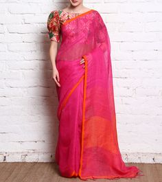 Pink Woven Jute Saree by Pratham || This is pink jute saree from weavers of West Bengal The saree comes with a printed raw silk peplum blouse.
