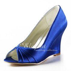 Blue Peep Toe Wedges Heels Comfort Pumps
