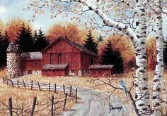 A larger image of Fall Farm, a limited edition print of a watercolor painting by Kathy Glasnap of Door County, Wisconsin Watercolor Barns, Watercolor Landscape, Watercolor Paintings, Watercolors, Cat Watercolour, Tole Painting, Barn Pictures, Vintage Pictures, Fall Images
