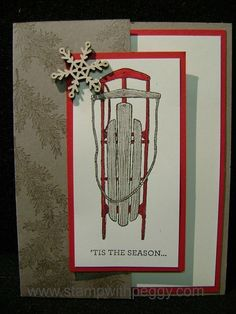 Winter Wishes stamp set, Snowflake Elements, Sledding, Christmas Cards, stampwithpeggy.com