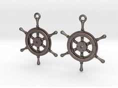 Ship wheel earrings in Stainless Steel