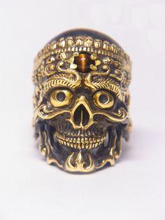 Brass Tibetan Skull Ring