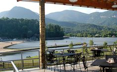 Looking toward Lake Lure village from the deck of La Strada Restaurant