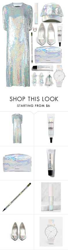 """""""Holographic"""" by julesdiaries ❤ liked on Polyvore featuring Filles à papa, Bobbi Brown Cosmetics, Dixon Ticonderoga, Sigma Beauty, Stuart Weitzman, Nameless, ASOS, holographic, holiday and holidaysparkle"""