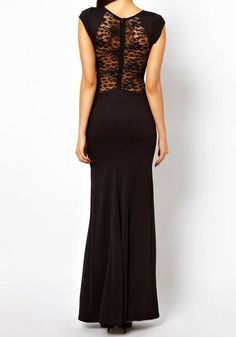Sheer Lace Maxi Dress - Black