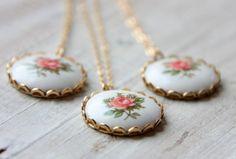 set of 3 romantic vintage pink rose