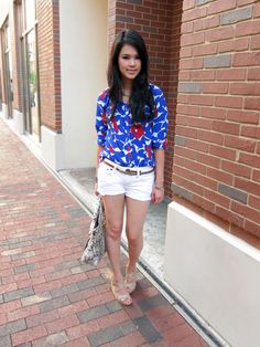 Pretty! Love the bold color top with white shorts.