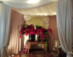 Backdrop Rose Artificial+Standing Flowers+Dekorasi kain side wall