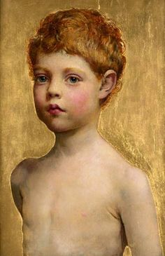 """Portrait Of A Boy"" by Annie Louisa Robinson Swynnerton (English, 1844-1933), oil and gold leaf on panel, 43.2 x 28.9 cm, creation date unknown."