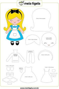 Alice in Wonderland doll pattern. Sewing pattern for a cute felt Alice doll.Discover thousands of images about Moldes para hacer princesas de fieltro o telaElliott Felt Paper Doll Pdf Pattern for Flannel Boardhow to make a felt pattern best FR Felt Doll Patterns, Stuffed Toys Patterns, Dress Patterns, Felt Diy, Felt Crafts, Felt Dolls, Paper Dolls, Felt Templates, Applique Templates