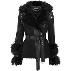 Alexander McQueen Textured leather-trimmed shearling biker jacket ($6,065) ❤ liked on Polyvore featuring outerwear, jackets, moto jackets, biker jackets, zipper jacket, zip jacket and shearling biker jacket