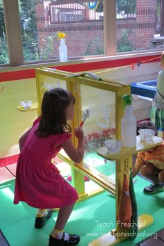 I love these sensory windows for exploring in preschool! Great classroom by @Deborah @ Teach Preschool
