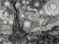 Drawing of Van Gogh's Starry Night