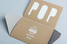 POP UP Exhibitions by Arjowiggins. Invitation Milan. Screenprinting on Keaykolour 100% Recycled Camel & Curious Matter Andina Grey.