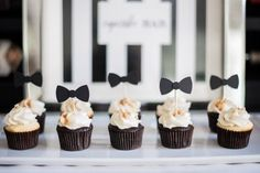 Black and White Baby Shower Cupcakes