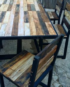Table pallet furniture recycled wood and chairs rustic style customized smoked brown dinning table for 6people