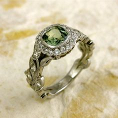 Square Cushion Cut Green Sapphire Diamond Leaf Engagement Ring White Gold with Milgrain Sapphire Diamond Engagement, Leaf Engagement Ring, Jewelry Rings, Jewelry Box, Jewelry Accessories, Bling Bling, Vintage Rings, Vintage Jewelry, Vintage Clothing