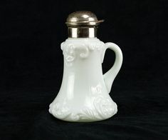 Fostoria Knobby Syrup Pitcher in White Milk Glass w Lid, Antique EAPG c.1898