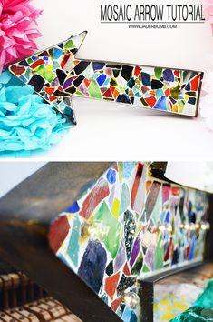 DIY Mosaic Arrow Tutorial from Michaels Makers Jaderbomb