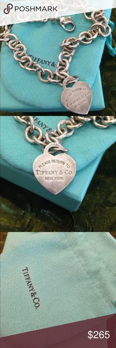 "Please Return to Tiffany & Co.  authentic  925 heart charm great gift for lovely one❤️❤️ 17"" enjoy  Tiffany & Co. Jewelry Necklaces"