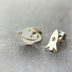 Planet and Rocket Earrings / choose your color gold and by laonato, $12.50