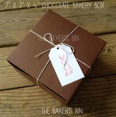 Chocolate Brown  Bakery Boxes  7 x 7 x 4  Set Of 6 by TheBakersBin, $4.99