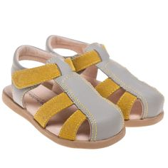 Boys Girls Childrens Toddler Real Leather Closed Toe Sandals Shoes - Grey Yellow