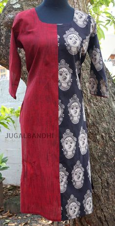 half n half kurthi Churidar Designs, Kurta Designs Women, Kurti Neck Designs, Dress Neck Designs, Blouse Designs, Kurta Patterns, Blouse Patterns, Kalamkari Dresses, Amon