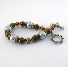 Brown Pearl Bracelet Glass Pearl Silver Strung by CinLynnBoutique, $24.00