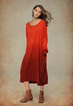 maxi wool dress in orange red loose kaftan dress by camelliatune
