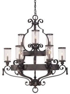 Highlands Black 9Lt. 2Tier Chandelier
