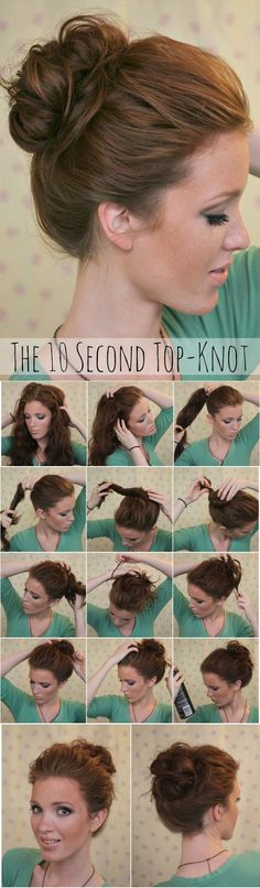 10 second top - knot #peinados