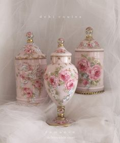 My romantic hand painted vintage glassware. Available at http://www.debicoules.com/romantic-french-roses-and-wildflowers-vintage-dresser-jar-by-debi-coules/
