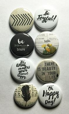 These are one inch flair buttons/pins. There are 8 flair in this set. Designs are courtesy of Steph Barcenas of graceandjoy here on Etsy! Diy Buttons, How To Make Buttons, Button Maker, Ideias Diy, Badge Design, Button Badge, Cute Pins, Pin And Patches, Up Girl