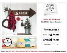 Funky Junk's Down on the Farm Mix and Match Stencil Collection / Product launch (and GIVEAWAY until Dec 18th, 2014!)  FunkyJunkInteriors.net #12days728deas