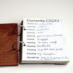 """Currently"" journal.  good idea!! #shareamemory #journal"