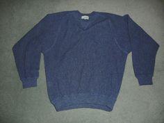Men's Blue ANDEAN 100% ALPACA Crew Neck Pull Over Long Sleeve Sweater, Size L #ANDEAN #CrewNeckSweater