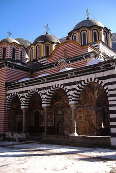 Rila Monastery, Bulgaria. The whole complex occupies an area of 8,800 m² and is rectangular in form, centered around the inner yard (3,200 m²), where the tower and the main church are situated.