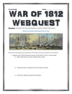 War of 1812 - Webquest with Key - This 6 page document contains a webquest and…